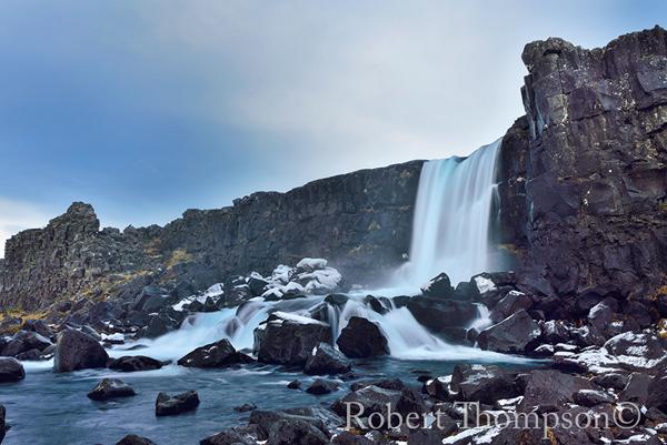 Oxararfoss Waterfall Pingvillir National Park Iceland